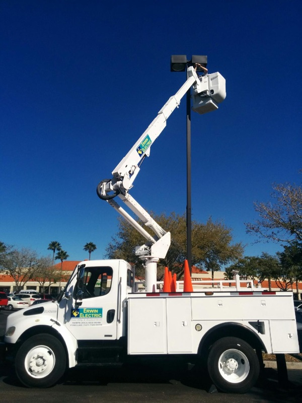 bucket truck pole light services erwin electric