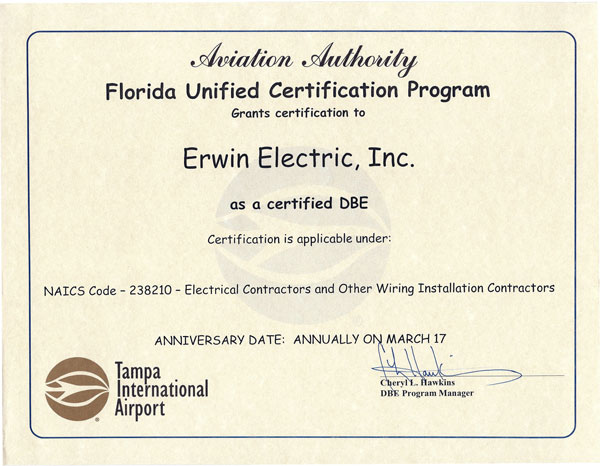WMBE Certifications » Erwin Electric