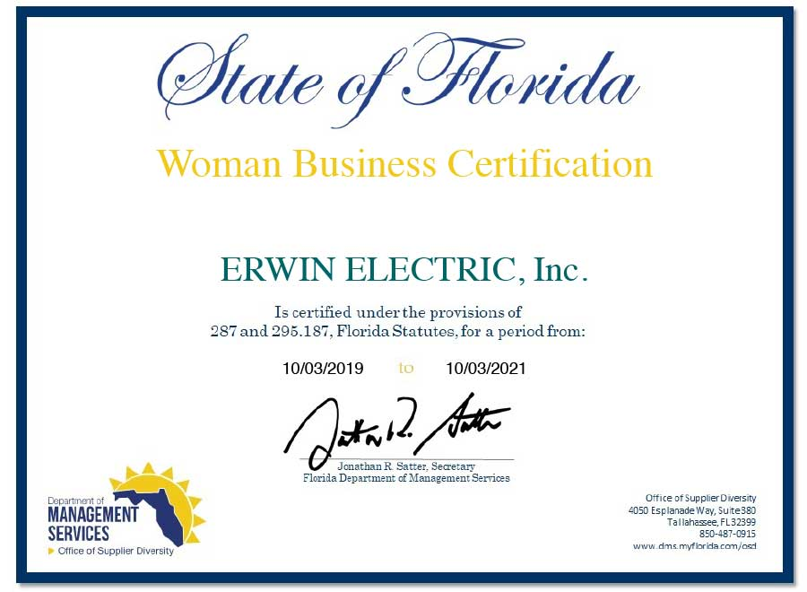 Women Business Certification Erwin Electric